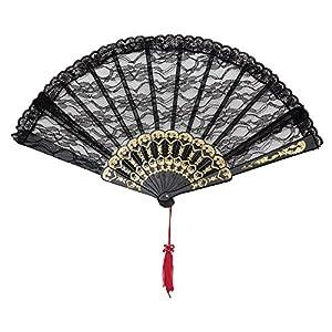 Black Lace Hand Fan (accesorio de disfraz)