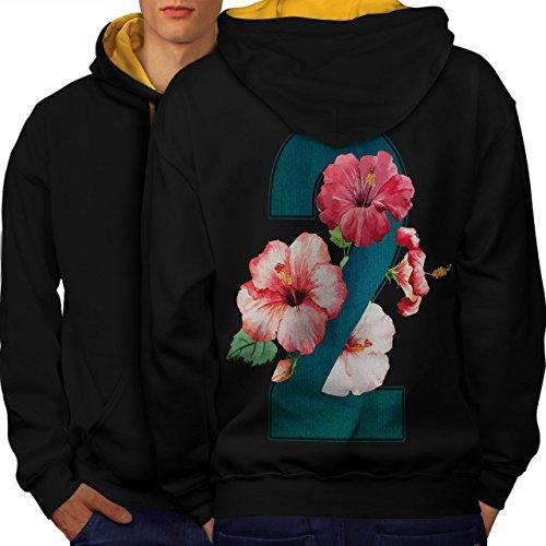 Nummer 2 Rose Kunst Mode Garten Mathe Men M Kontrast Kapuzenpullover Zurück | Wellcoda (Satin Pjs Stück 2)