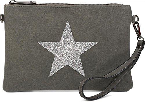 styleBREAKER Clutch Abendtasche mit Pailletten Stern in Wildleder Optik, Schulterriemen und Trageschlaufe, Damen 02012092, Farbe:Rose Khaki