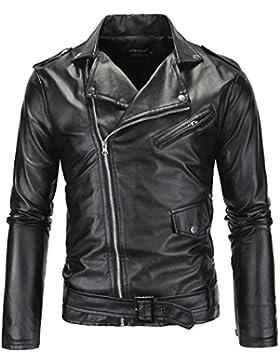 Sanke Chaqueta biker de cuero motocicleta clasica hombres chaquetas de piel sintetica negra
