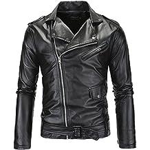 0937419db947 LANBAOSI Veste en Simili Cuir Homme Manches Longues Zippé Noir Blouson de  Moto Rocker Manteau Style