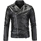 LANBAOSI Veste en Simili Cuir Homme Manches Longues Zippé Noir Blouson de Moto Rocker Manteau Style Motard Medium