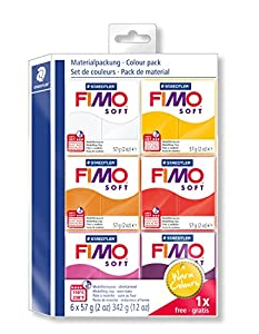 Staedtler 8023-23. Pasta para modelar FIMO Soft. 6 pastillas de colores 57 gramos. Pack Colores Cálidos.