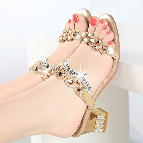 GTVERNH-E Estate E Indossare Ciabatte, Sandali Con La Versione Coreana Del Nuovo Cristallo Lady, Outdoor Pantofole Con Marea. Golden