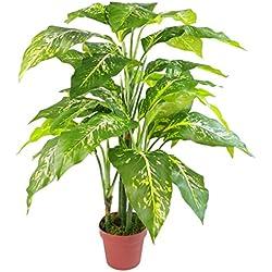 Leaf 100cm Großer Fox Aglaonema (Spotted Evergreen) Baum Künstliche Pflanze Topf in Plastiktopf von Blatt-Entwurf UK