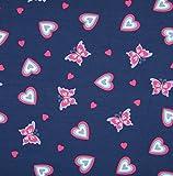 0,5m Jersey Herzen und Schmetterlinge dunkelblau-pink 5%