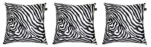 Lushomes White Zebra Skin Printed Cushion Covers (Pack of 3)