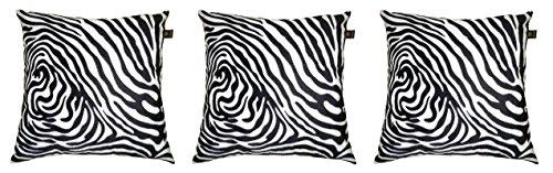 Lushomes White Zebra Skin Printed Cushion Covers (Pack of 3)