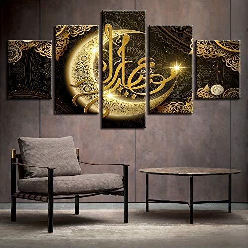 lsweia Holzrahmen Hd Drucke Poster Wohnzimmer Dekor 5 Stücke Islam Allah Der Koran Gold Mond Malerei Muslim Leinwand Bilder Wandkunst Rahmen