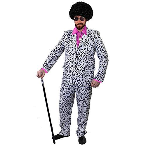 Gruppe Kostüm Dalmatiner - ILOVEFANCYDRESS ZUHÄLTER/Pimp KOSTÜME VERKLEIDUNG 60iger 70s Jahre=Fasching Karneval Disco=ROSA SEIDIGES RÜSCHEN Hemd+PERÜCKE+Medallion+Dalmatiner Look Hosenanzug+AVAIATOR Brille=MEDIUM