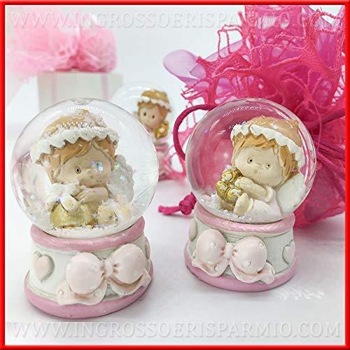 Ingrosso e risparmio sfera di neve in vetro con angioletto rosa in resina assortiti bomboniere originali per nascita battesimo bambina (con confezione rosa)