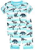 """Babyfashion Pigiama pantaloncini 2 Pezzi di """"dinosauro"""" sia par bambino sia per ragazzo sono 100% di cotone(da 2 anni fino a 7 anni)) (7Toddler(anni), blu)"""