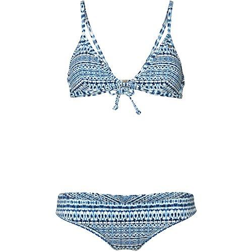 O'Neill Damen Fixed Triangle Bikini Bademode, White AOP W/Blue, 36