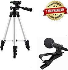 ARNIX 3110 Portable & Foldable Camera Mobile Tripod with Microphone Hands-free Mini Clip On Lapel Mic for Cameras Recorders (3110+lapel mic)