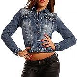 Young-Fashion Damen Jeansjacke Jeans Jacket Blouson Strass, Farbe:Jeansblau;Größe:38/M