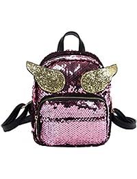 5a200a9e55c67 Mädchen Pailletten Laser Leder Schultasche VENMO Umhängetasche Damen  Umhängetasche Frauen Schule Stil Pailletten Reisetasche…
