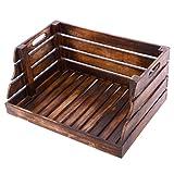Divero Vintage Holzkiste Stapel-Kiste Spielzeug-Box Stiege Braun geflammt Aufbewahrung 49 cm x B 35 cm x 25,5 cm