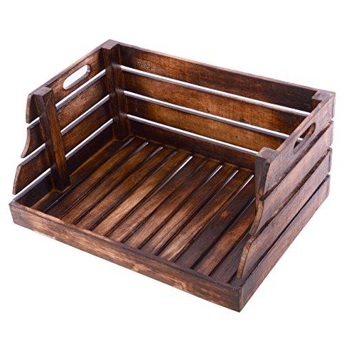 Divero Vintage Holzkiste Stapel-Kiste Spielzeug-Box Stiege braun geflammt Aufbewahrung 49x35x25,5cm Obst- und Gemüsekisten-Look - Holz Stapeln Regal