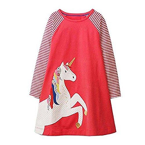 Mooler Mädchen Rundhalsausschnitt Langarm Casual Dress Cartoon Einhorn Applique T-Shirt Kleid , Rot , 2 Jahre (Mädchen Langarm-pferde)