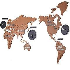 Idea Regalo - Shhyy Novità Mappa Del Mondo Orologi Da Parete In Legno 3D DIY Sticker Orologi Per Cucina,Soggiorno Decorazione,Brownandblack