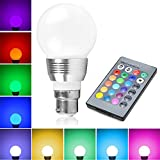 Lifetime Warranty - LifeBee Colour Changing B22 LED Light Bulbs, 5W RGB Dimmable 16 Colour Choices, Mood Lighting, Bayonet for Home Decoration Bar Party KTV Stage Effect Lights Bulbs