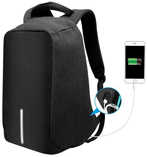 Anti Diebstahl Rucksack mit USB Ladeanschlus Business Notebook Großer Kapazität Laptop Rucksäcke bis zu 15,6'' Laptopfach für Damen Herren Arbeit Reisen Schwarz