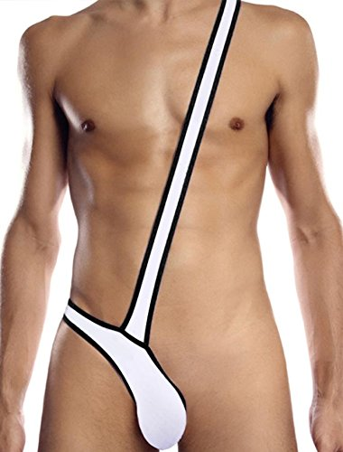 Preisvergleich Produktbild New Men & Gay Weiß/Schwarz Stretch Borat Mankini Unterwäsche Stripper Hirsch Do Fancy Kleid Badeanzug Einheitsgröße S/M