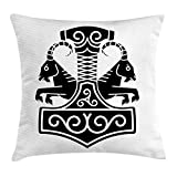 Mjolnir Throw Pillow Cushion Cover, Hammer of Thor with Two Goats Pulling The Chariot in Norse Mythology Mystic, Decorative Square Accent Pillow Case, 18 X 18 inches, Black and White