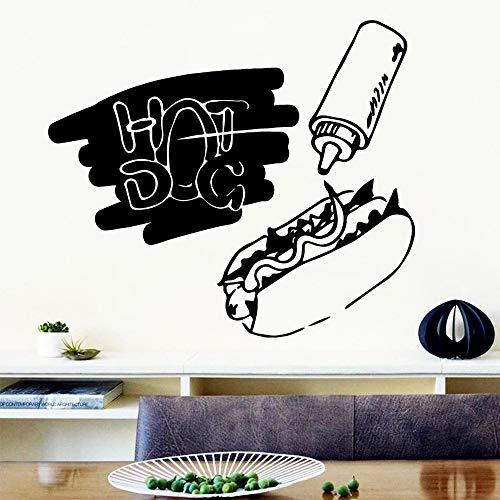 Moderne hot Dog wandaufkleber abnehmbare Aufkleber DIY tapete für wohnkultur Restaurant esszimmer Aufkleber wandbild vinilo decorativo weiß l 42 cm x 48 cm