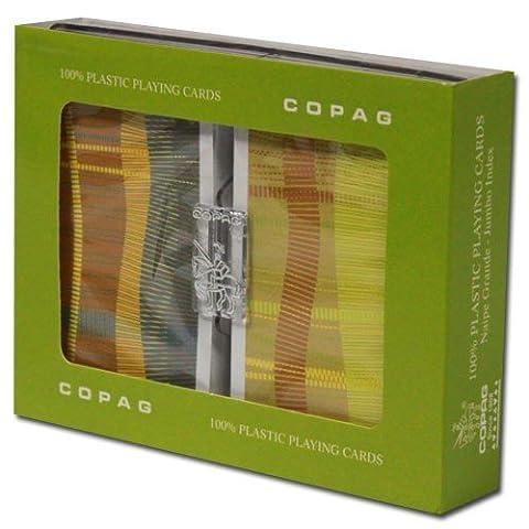 Copag Silverline Geometric 100% Plastic Bridge Playing Cards, Jumbo Index Twin Pack