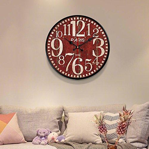 Komo silencioso Moderno Decoración Adorno para Hogar Gas invasiva Simple Tabla de Pared Retro Reloj de Cuarzo de Gran Reloj de Pared Reloj,20 Pulgadas,Vino Rojo