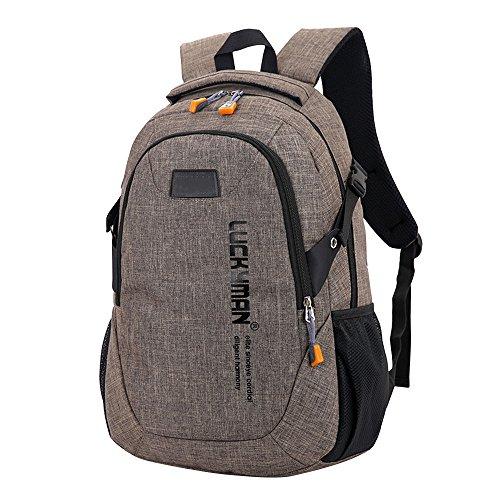 DAY.LIN Modisch Einfach Große Kapazität Umhängetasche Männliche und weibliche Modelle Computer Tasche Schülerpaket Freizeit Reisetasche Rucksack Leinwand Reisetasche Rucksäcke (braun)