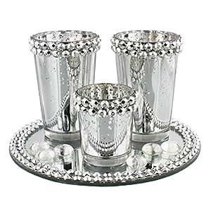 Lot de 3 bougeoirs Effet argenté ancien en cristal-Décoration de table Mariage Noël