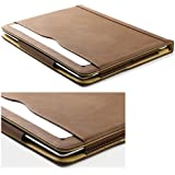 Cool Chameleon Brown & Tan Soft Leather Wallet Smart Case Cover For Ipad 4 + Retina & Ipad 3 & Ipad 2 With Sleep Wake + Screen Protector