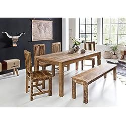 Wohnling Rustica Mesa de Comedor, marrón, 120x76x70 cm
