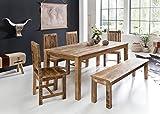 FineBuy Esszimmertisch RUSTI 180 x 90 x 76 cm Mango Massiv-Holz | Design Landhaus Esstisch Massiv | Tisch für Esszimmer rechteckig | Küchentisch 6-8 Personen