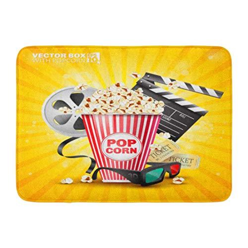 Soefipok Fußmatten Bad Teppiche Outdoor/Indoor Fußmatte Red Pop für die Filmindustrie von Box Popcorn Film Yellow Corn Cinema Badezimmer Dekor Teppich Badematte