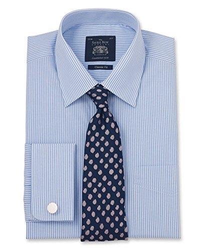 Savile Row Men's Blue Bengal Stripe Classic Fit Shirt - Double Cuff 15 1/2