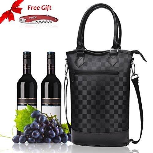 Tasche - Travel, Gepolstert, 2 Flasche Wein/Sektkühler Carrier Griff und Schultergurt +Gratis Korkenzieher ()