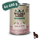 Wildes Land | Nassfutter für Katzen | Nr. 1 Rind & Pute | 6 x 400 g | Getreidefrei | Extra viel Fleisch | Beste Akzeptanz und Verträglichkeit