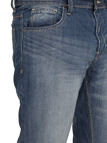 ENZO Herren Smart Straight Leg Regular Fit Schlicht Jeans (Darkwash & Helle waschung) Waist 28-48 Licht Steingewaschen