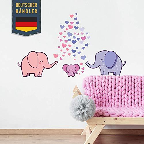 50 Teile Elefanten Familie Wandtattoo mit Baby Seifenblasen - Kinderzimmer Zoo Tiere Wandsticker, Tapete Rauhfaser Sticker zum Kleben, Wandaufkleber Kleinkind Wanddeko - Wandfolie Mädchen in Blau Pink