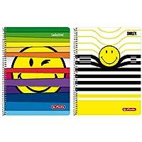 Herlitz 50001767–Cuaderno de espiral (A4, 80hojas línea 28(cuadriculado con 2márgenes), diseños: Smileyworld surtidos–No a elegir. Smileyworld Diseños Variados