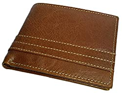 NUKAICHAU Brown Tan Single Fold Mens Leather Wallet