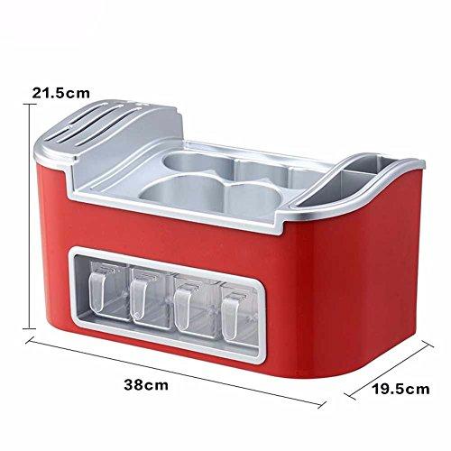 SSBY Cucina multifunzionale rack salsa condimento bottiglia rack di storage bacchette e cucchiaio rack di storage combinazione coltello da cucina,rosso B