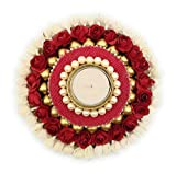 #1: Satyam Kraft Diwali Collection Designer Hand Crafted Festive Decor Floral Diya thali with moti stand /Tealight Candle Holder Pooja Thali Traditional Diwali decor/Diwali pooja/Diwali decor/diwali gift/gift(1 Piece)