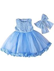 ZAMME Vestido formal del partido del bautismo del baile de la princesa del cordón de la niña