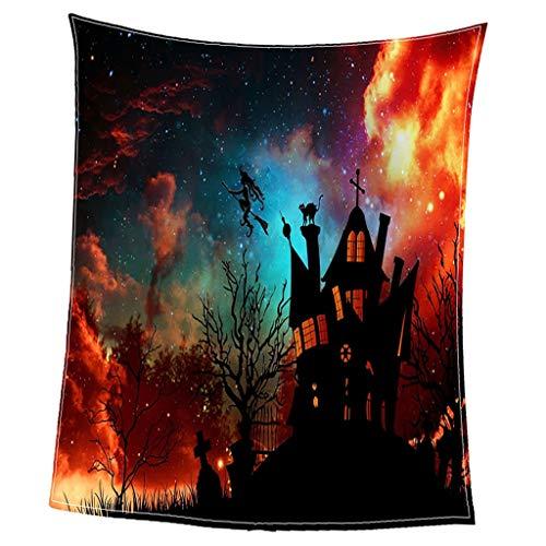 B Blesiya Weiche und Warme Hundedecke Flanell Decke Haustier Schlafdecke - Halloween Himmel
