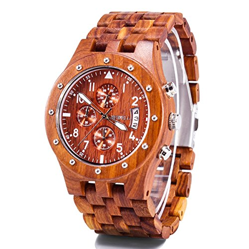Bewell Reloj hombre mujer madera multifuncional