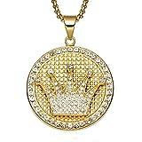 Budazo Herren Golden Hip Hop Championship Crown Rahmen Runde Diamant Medaille Anhänger Halskette